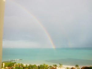 Double rainbow after Hurricane Ida in Cancun